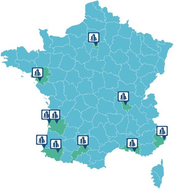carte de france présentation des bureaux d'acheterduneuf.com